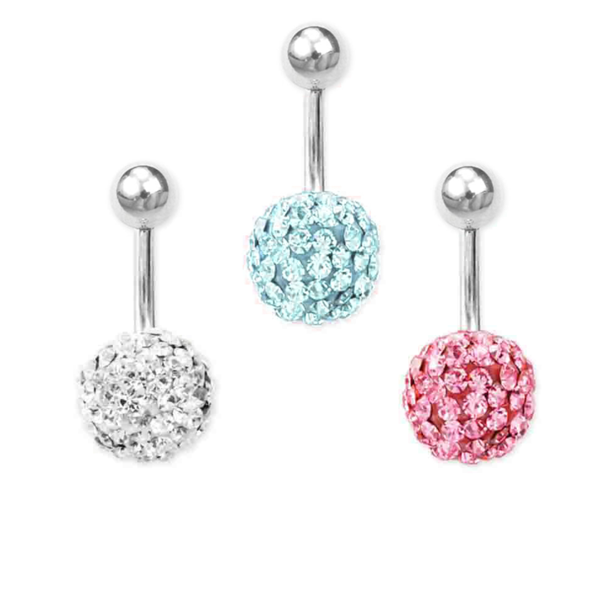 Fehér kristályos gömb orvosi acél piercing