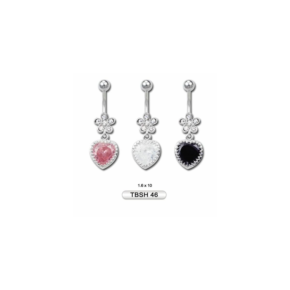 Szív alakú virágos rózsaszín kővel díszített orvosi acélból készült piercing