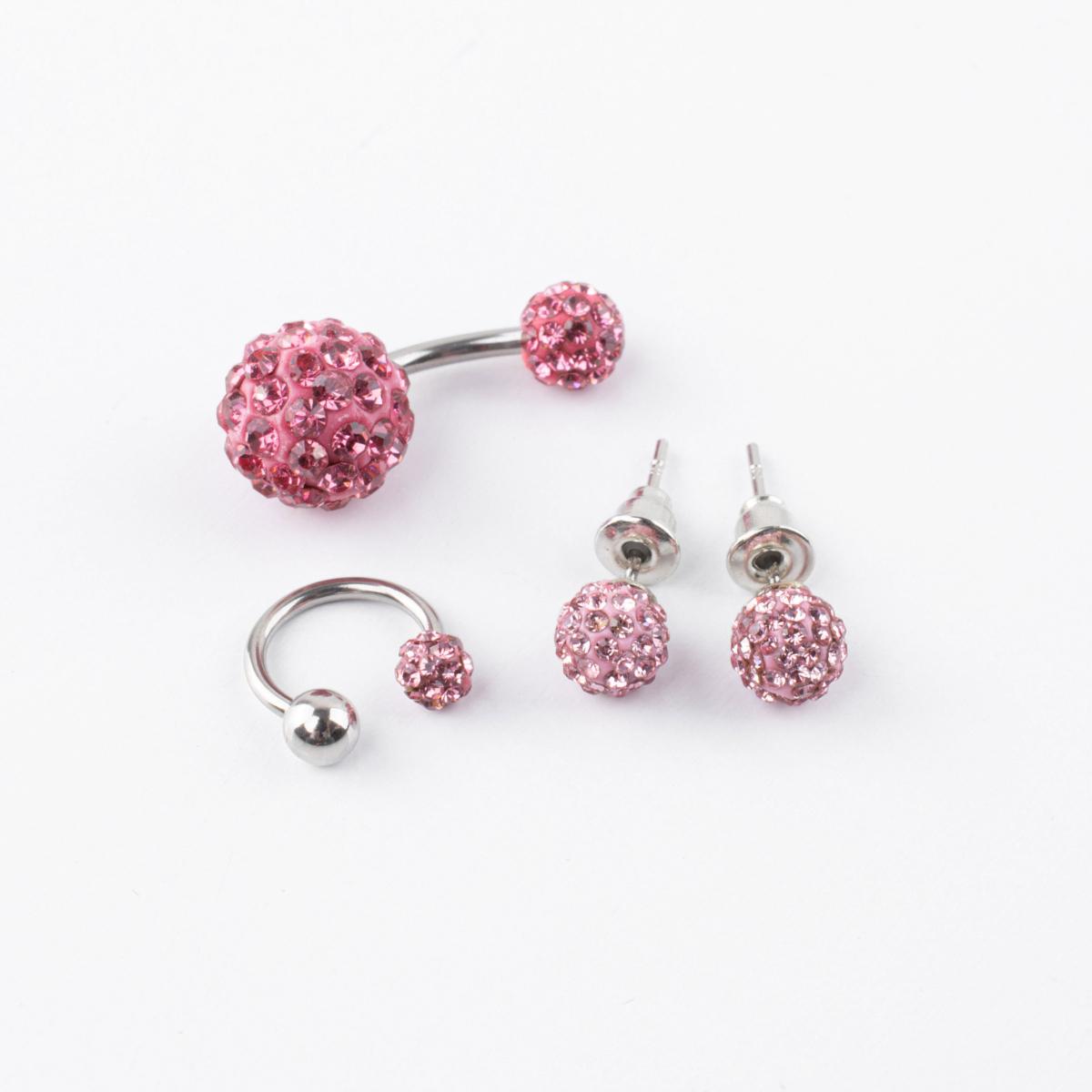 Rózsaszín Strasszos Orvosi Acélból Készült 4 darabos Piercing és fülbevaló Szett