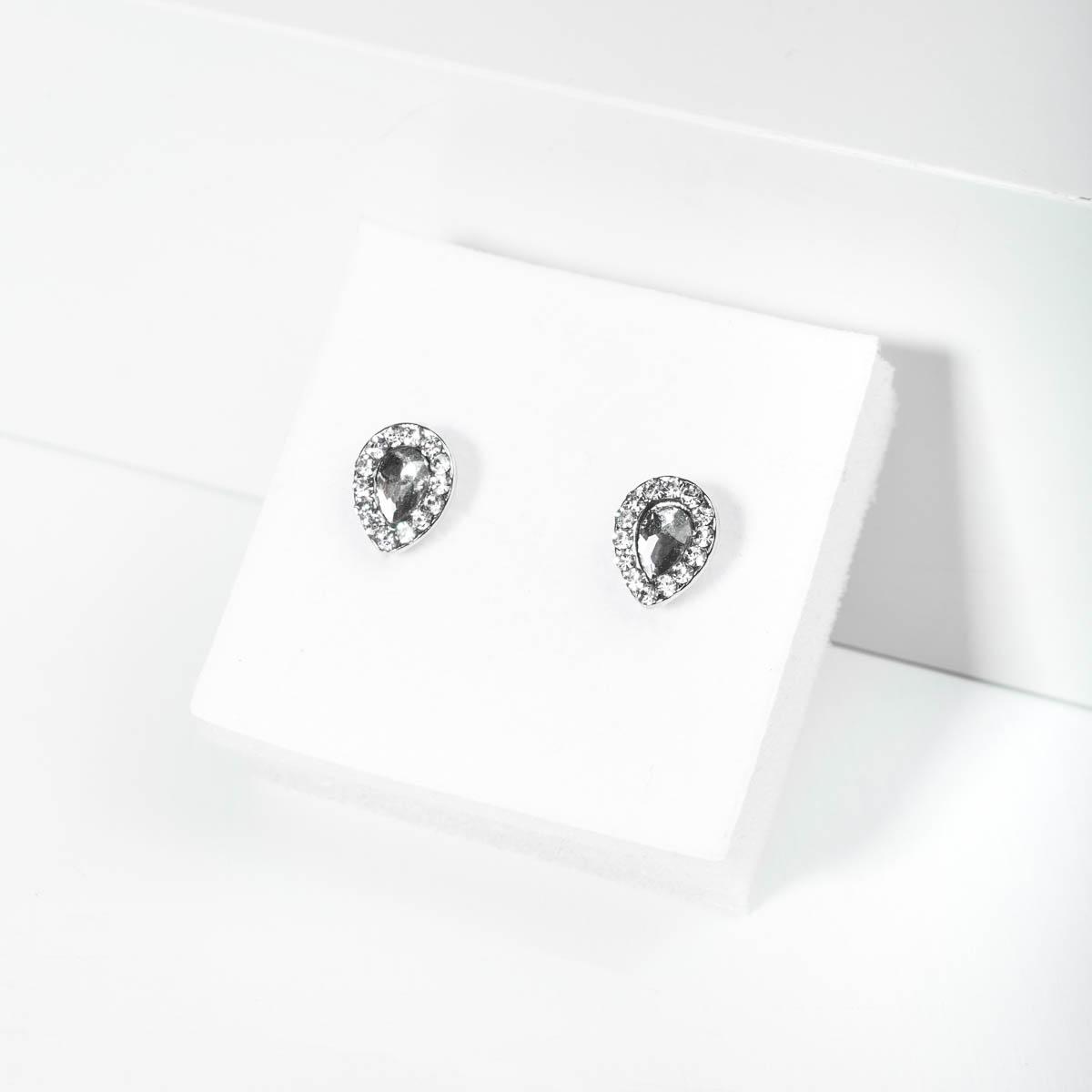 Csepp alakú Köves Fülbevaló (ezüst)