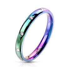 Rozsdamentes szivárvány színű acél gyűrű csillogó strasszokkal