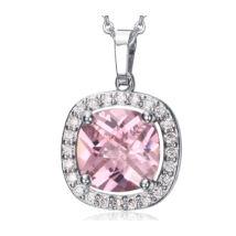 Női ezüst színű rozsdamentes acél nyaklánc rózsaszín strasszos medállal