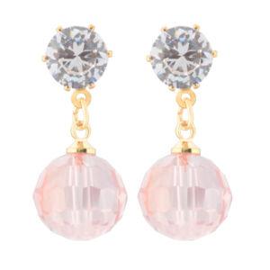 Strasszköves női arany szinű fülbevaló rózsaszín lógós gyönggyel