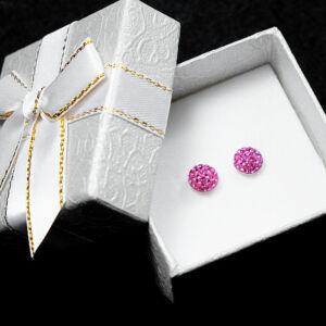 Rózsaszín félgömb alakú nemesacél fülbevaló,üvegkristályokkal kirakva