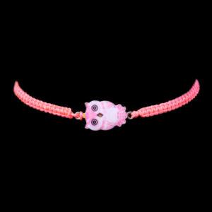 Neon rózsaszínű  női fonott baglyos karkötő