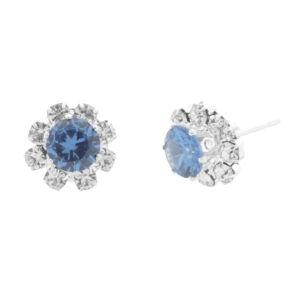 Női Ezüstszínű Kék Strasszköves Virág Alakú Fülbevaló