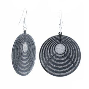 Női ezüst színű kör mintázatú lógós fülbevaló külön mozgó első és hátsó elemmel