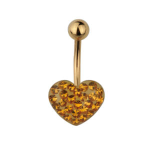 Szív alakú arany színű strasszkövekkel díszített orvosi acélból készült piercing