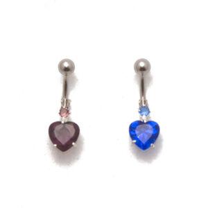 Szív alakú lila köves orvosi acélból készült piercing