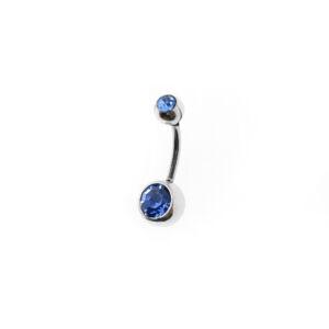 Kék köves két gömbös acél köldökpiercing