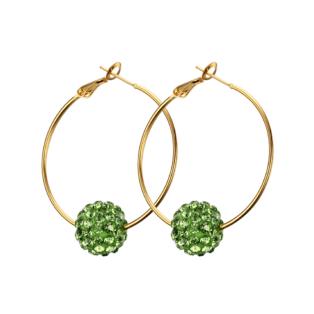 Arany színű rozsdamentes acélból készült karika fülbevaló zöld strasszos gömbbel