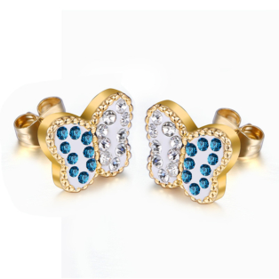 Pillangó alakú arany színű rozsdamentes acél fülbevaló kék és fehér strasszokkal