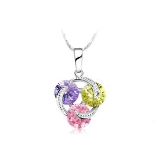 Xuping Ezüst színű rozsdamentes ötvözetből készült nyaklánc színesen csillogó strasszos medállal