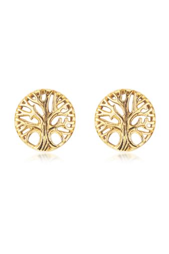 Kép 1/5 - A & ONE Apró Fa alakú arany színű rozsdamentes acélból készült fülbevaló