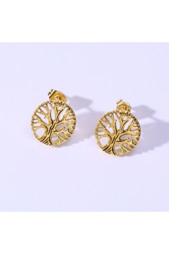 Kép 3/5 - A & ONE Apró Fa alakú arany színű rozsdamentes acélból készült fülbevaló