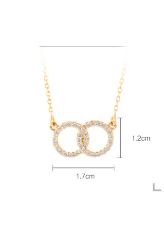 Kép 5/5 - Xuping Arany színű rozsdamentes ötvözetből készült nyaklánc kör strasszos medállal
