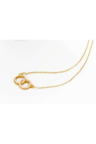 Kép 2/5 - Xuping Arany színű rozsdamentes ötvözetből készült nyaklánc kör strasszos medállal