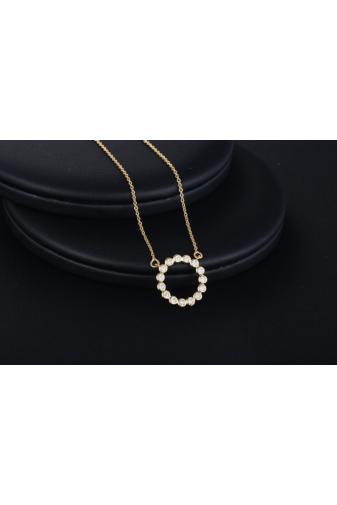 Kép 2/6 - Xuping Arany színű rozsdamentes ötvözetből készült strasszos nyaklánc kör alakú medállal