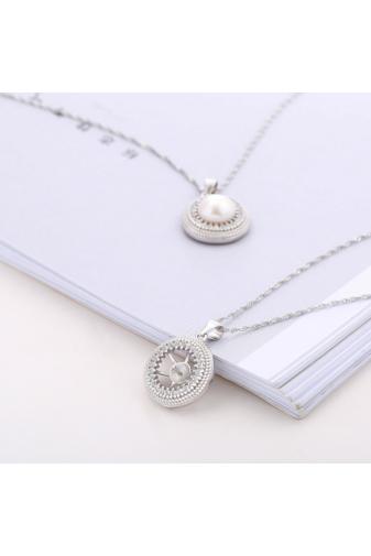 Kép 2/4 - A & ONE Ezüst Nyaklánc Gyöngy alakú Medállal és Strasszal díszítve
