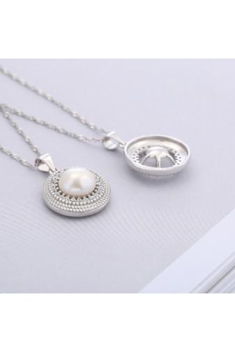 Kép 3/4 - A & ONE Ezüst Nyaklánc Gyöngy alakú Medállal és Strasszal díszítve