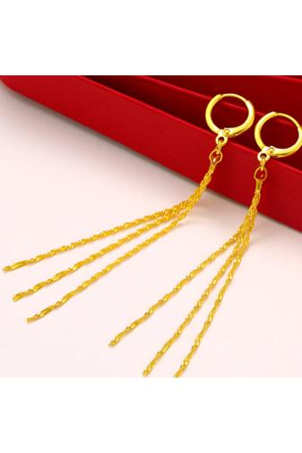 Kép 4/6 - XUPING Aranyszínű Háromszálas Lógós Fülbevaló