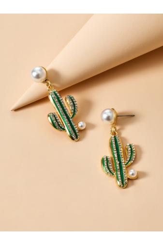 Kép 3/5 - A & ONE Fehér gyöngyös bedugós arany színű kaktuszos fülbevaló