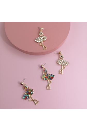 Kép 4/4 - A & ONE Arany Színű Lógós Fülbevaló Strasszköves Flamingó Medállal