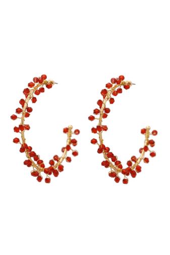 Kép 1/5 - A & ONE Arany Színű Nagyméretű Karika Fülbevaló Piros Gyöngyökkel Díszítve