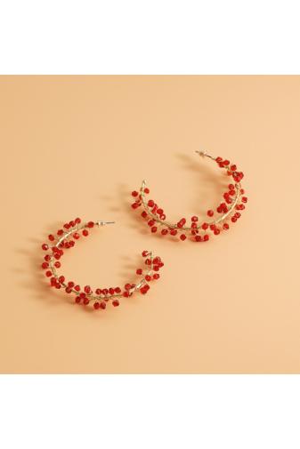 Kép 2/5 - A & ONE Arany Színű Nagyméretű Karika Fülbevaló Piros Gyöngyökkel Díszítve