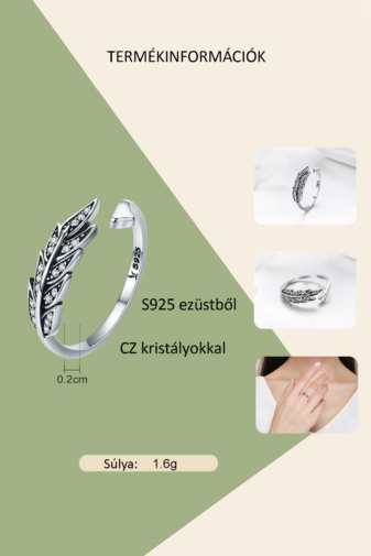 Kép 4/4 - A & ONE Állítható Ezüst Gyűrű Levél Formával