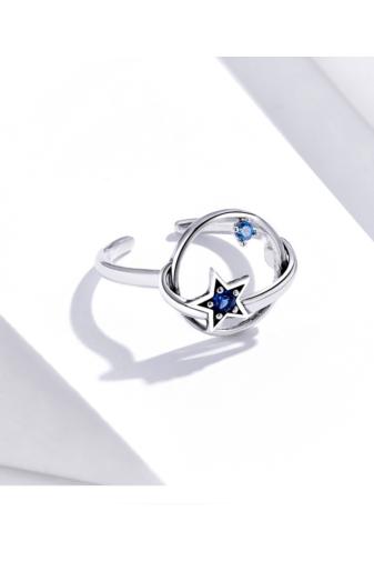 Kép 2/3 - A & ONE Állítható Ezüst Gyűrű Csillag Formával És Cirkónia Kövekkel