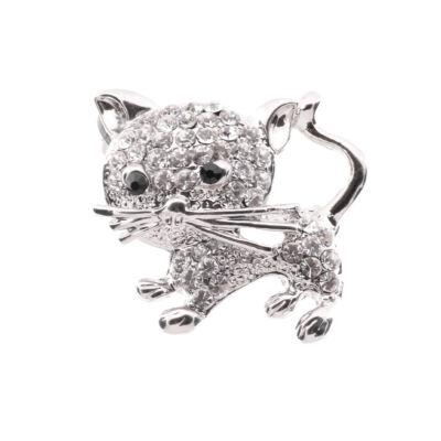 Ezüst színű cica bross