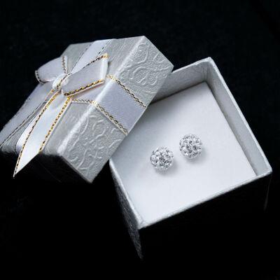 Fehér nemesacél gömb fülbevaló,üvegkristály kövekkel díszítve (8mm)