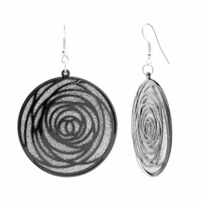 Női ezüst színű rózsa mintázatú lógós fülbevaló külön mozgó első és hátsó elemmel