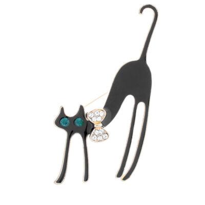 Női arany és fekete színű masnis cicás bross kitűző
