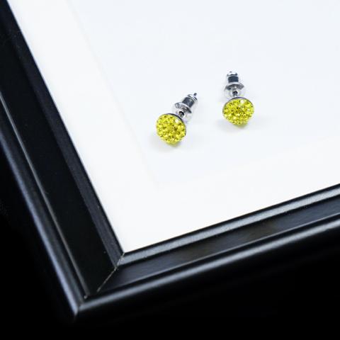 Sárga félgömb alakú nemesacél fülbevaló,üvegkristályokkal kirakva
