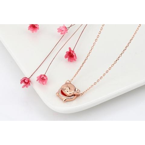 Rózsaarany színü nyaklánc strasszos szerencsét hozó malacos medállal (Valódi ezüst)