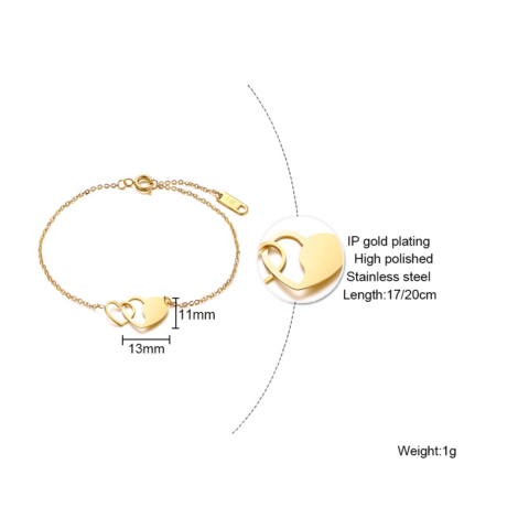 Aranyszínű Szív Medálos Rozsdamentes Acél Karkötő