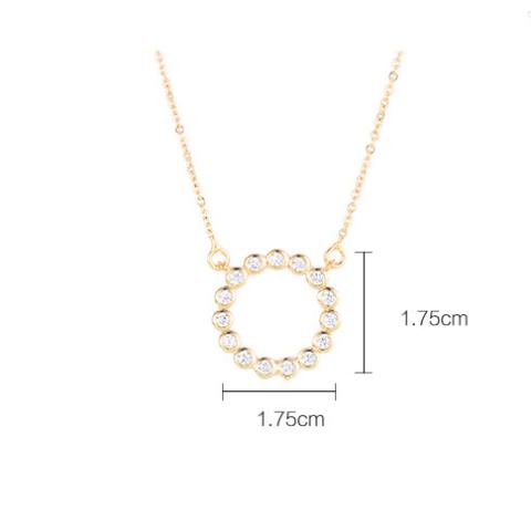 Xuping Arany színű rozsdamentes ötvözetből készült strasszos nyaklánc kör alakú medállal