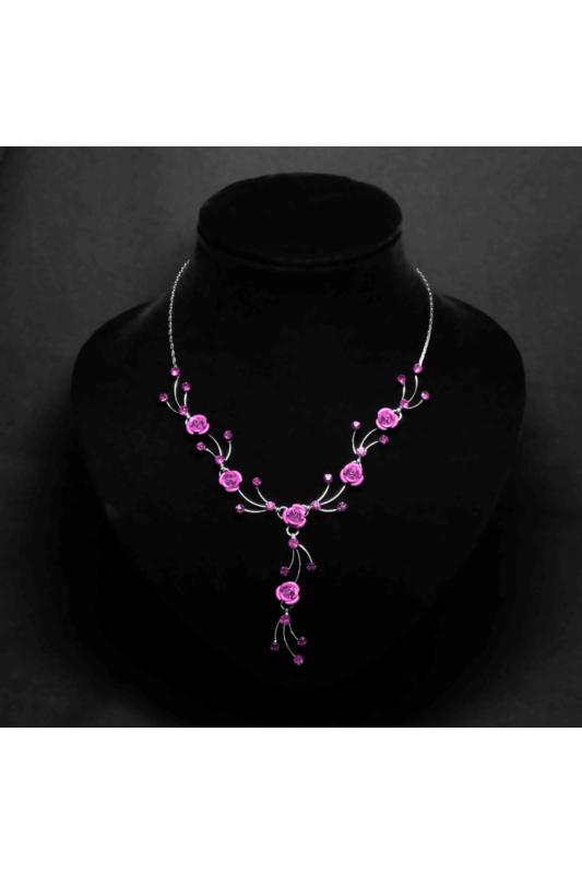 A & ONE Világos rózsaszín virágos női nyaklánc fülbevaló szett