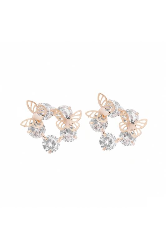 A & ONE Női Arany Színű Strasszos Fülbevaló Pillangókkal