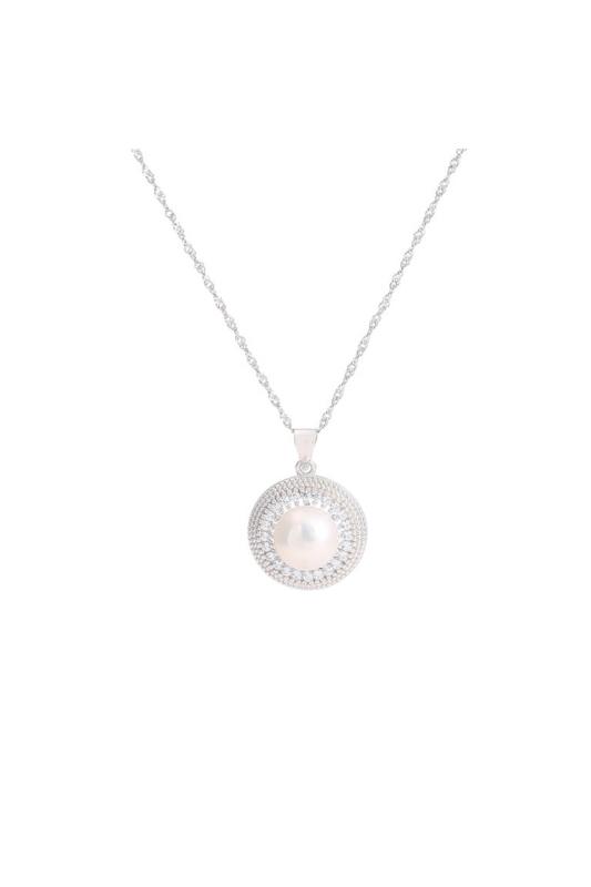 A & ONE Ezüst Nyaklánc Gyöngy alakú Medállal és Strasszal díszítve