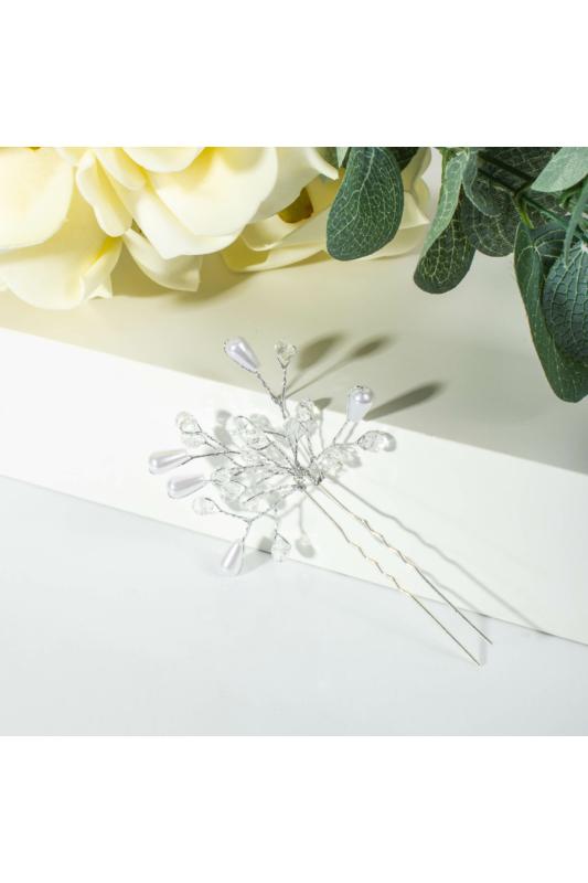 A & ONE Vegyes Gyöngyökkel Díszített Kicsi Esküvői Hajtű