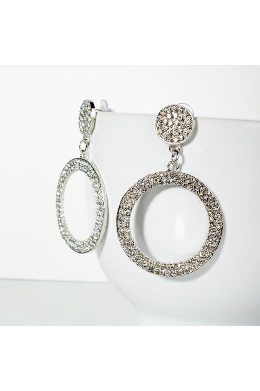 A & ONE Apró strasszkövekkel borított kör alakú elegáns fülbevaló