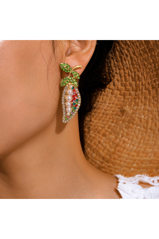 A & ONE  Strasszköves gyöngyös színes nyárias fülbevaló