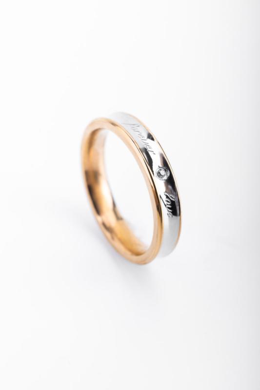 A & ONE Arany-Ezüst Színű  Női Gyűrű Forever Love Felirattal-5