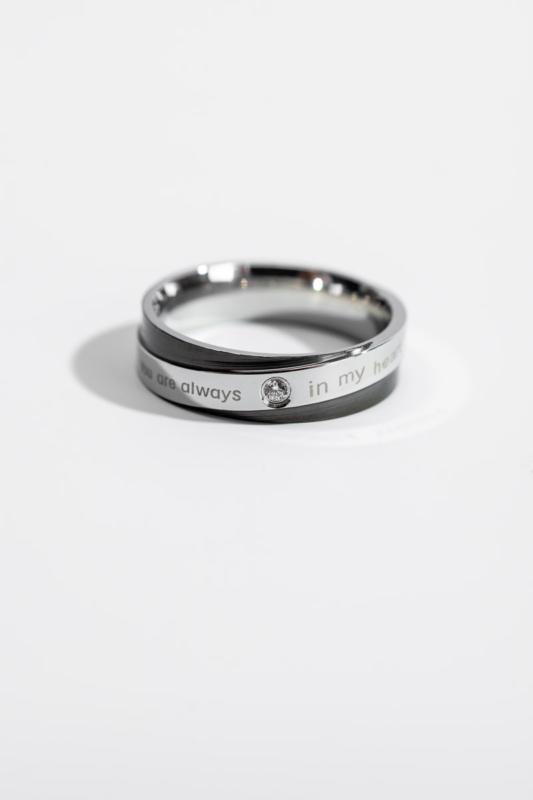 A & ONE Ezüst-Fekete Színű Cirkónia Kő Díszítésű  Gyűrű-6