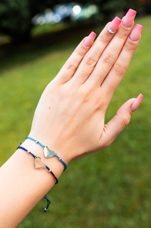 A & ONE Kék Textil Női 2db os Karkötő Szív Alakú Medállal