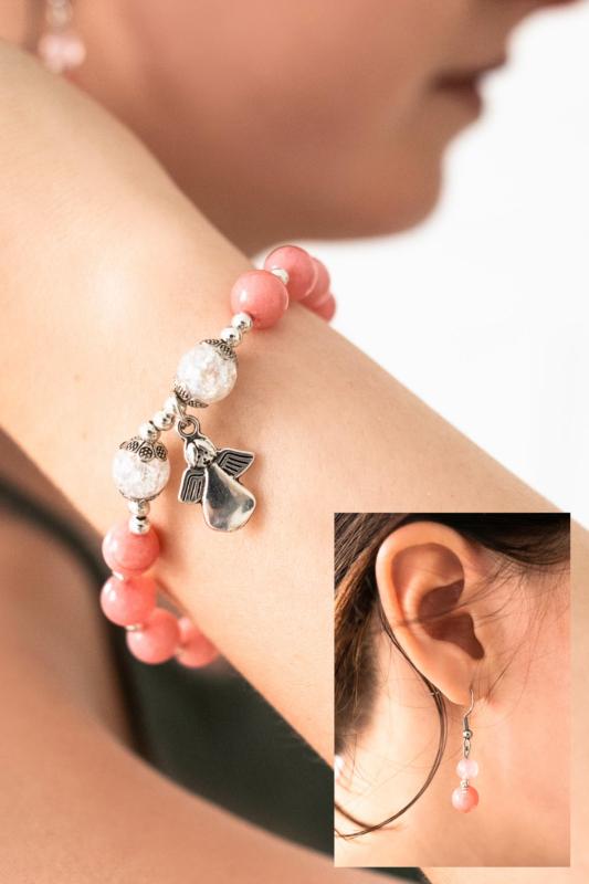 A & ONE Rózsaszín Üveg Karkötő És Fülbevaló Angyalka Medállal