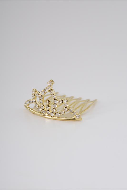 A & ONE Arany Színű Tiara Alakú Mini Hajfésű Strasszkövekkel
